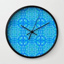 Complex Cyan Squares Pattern Wall Clock
