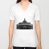 eiffel tower V-neck T-shirts featuring Eiffel Tower by Evan Morris Cohen