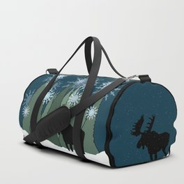 Moose in the Snowy Forest Duffle Bag
