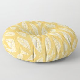 Modern Tropical Leaf Pattern - Yellow Floor Pillow