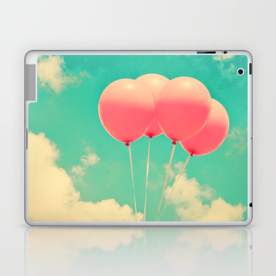 Balloons in the sky (pink ballons in retro blue sky) Laptop & iPad Skin