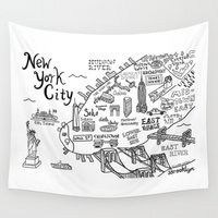 new york map Wall Tapestries featuring New York City Map by Claire Lordon