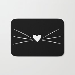 Cat Heart Nose & Whiskers White on Black Bath Mat