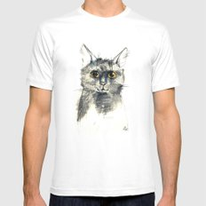 Pencil sketch of the black cat MEDIUM Mens Fitted Tee White