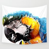 parrot Wall Tapestries featuring Parrot by Regan's World