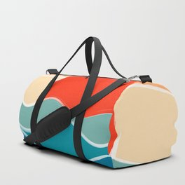 Retro 70s and 80s Color Palette Mid-Century Minimalist Nature Waves and Sun Abstract Art Duffle Bag