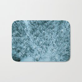Aerial view of winter snow covered forest landscape. Drone photography collection. Bath Mat
