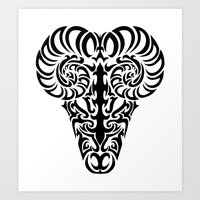 aries Art Prints featuring Aries by Mario Sayavedra