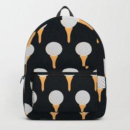 Golf Ball & Tee Pattern (Black) Backpack