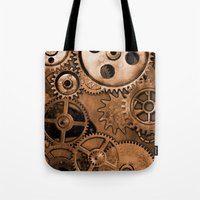steam punk Tote Bags featuring Steam Punk Gears by GrimDork