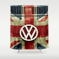 union jack Shower Curtains featuring VW Retro Union Jack by Alice Gosling