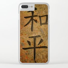 Calligraphy -  Chinese Peace Character on Granite Clear iPhone Case