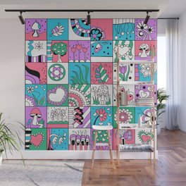 Inchies Doodle Design - Dark Pink Purple Blue - Spring Wall Mural