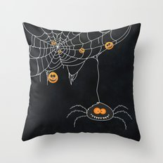Halloween Spider on Web Throw Pillow