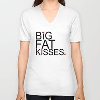 psych V-neck T-shirts featuring big fat kisses, shawn and julia, psych by studiomarshallarts