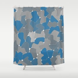 Blue Wall Etching Shower Curtain