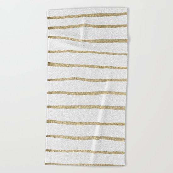 Gold Stripes Beach Towel