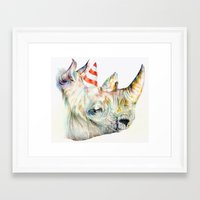party Framed Art Prints featuring Rhino's Party by Brandon Keehner