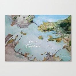 SF, San Francisco, Oakland, Bay Area, California Watercolor Map Art Canvas Print