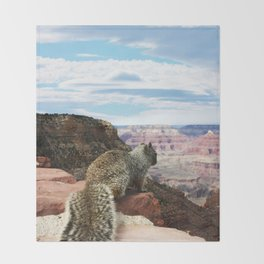 Squirrel Overlooking Grand Canyon Throw Blanket
