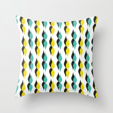 turquoise and yellow petal lines  Throw Pillow