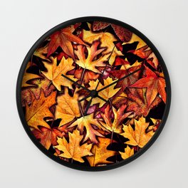 Fall Leaves Pattern Wall Clock