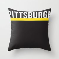 pittsburgh Throw Pillows featuring Pittsburgh Pride by KatieKatherine