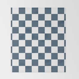 Dusky Blue Checkers Pattern Throw Blanket
