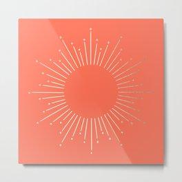 Simply Sunburst in Deep Coral Metal Print
