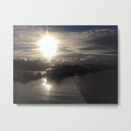 Seattle skyline big sun Metal Print