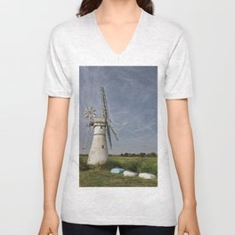 Thurne Dyke Mill and Boats Unisex V-Neck