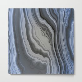 Blue Grey Marble Veins  Metal Print