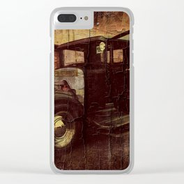 Antique Black Truck with Weathered Look Clear iPhone Case