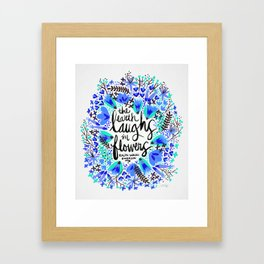 The Earth Laughs in Flowers – Turquoise & Blue Framed Art Print