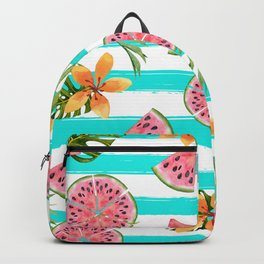 Watermelon blue stripes Backpack