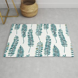 Watercolour Fern Pattern   Teal and Gold Rug