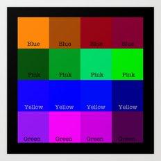 Blue, Pink, Yellow, Green  Art Print