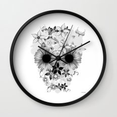 Skull Flowers grey - white Wall Clock