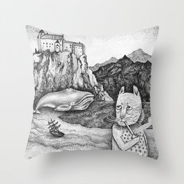 The Whale, The Castle & The Smoking Cat Throw Pillow