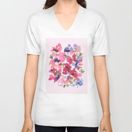 Monet's Rose Garden Unisex V-Neck