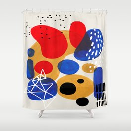 Fun Mid Century Modern Abstract Minimalist Vintage Primary Colors Blue Red Yellow Bubbles Shower Curtain