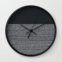 georgiana paraschiv Wall Clocks featuring Riverside (Black) by Jacqueline Maldonado