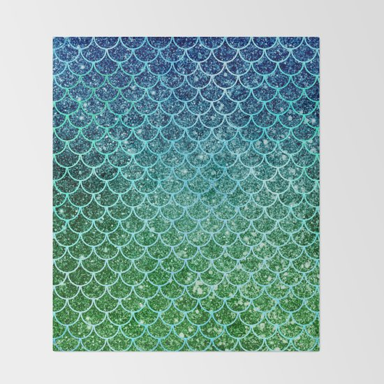 Mermaid Blue & Green Glitter Ombre Scales by nlmiller07art