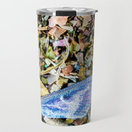 Colorful butterfly wing on compost full frame texture in background Travel Mug