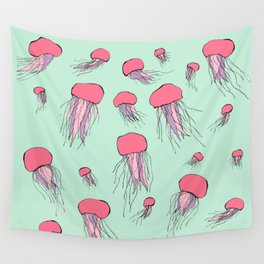 Pastel colors jellyfish Wall Tapestry