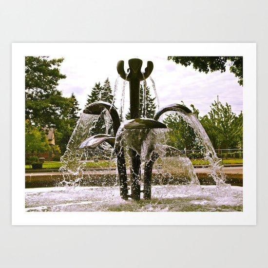 Lakewood Water Fountain Art Print