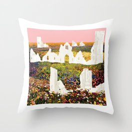White Ruins In Flower Fields Throw Pillow