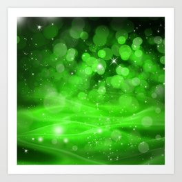 Whimsical Green Glowing Christmas Sparkles Bokeh Festive Holiday Art Art Print