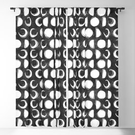 Sketchy Moons Black and White Moon Phases Blackout Curtain