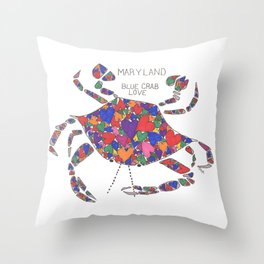 Blue Crab Maryland Art State Symbols - Love Throw Pillow